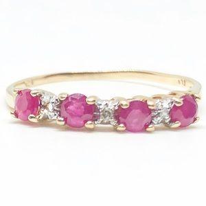 10k Yellow Gold Genuine Ruby & Diamond Band Ring
